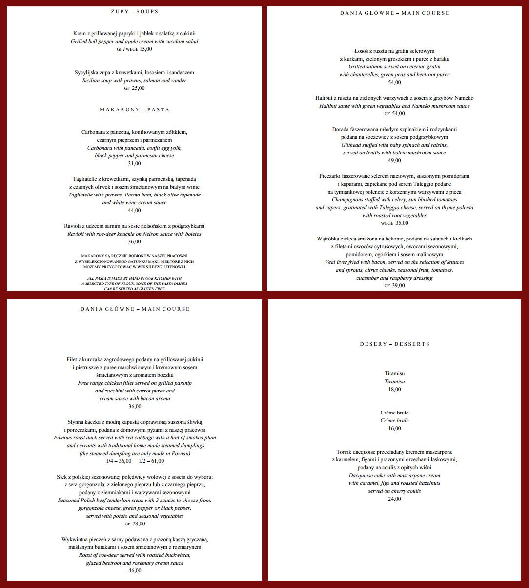 restauracja Papavero Poznań menu